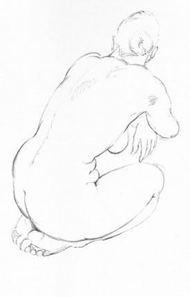life Drawing - Pen and ink by bernard reynolds